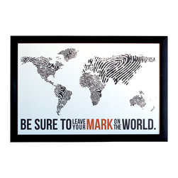 """The Oyster's Pearl - Fingerprint World Map - Travel Poster Print - """"Be sure to leave your mark on the world."""""""
