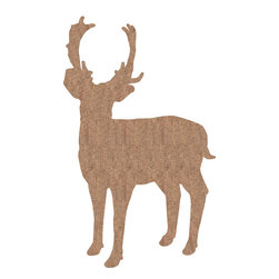 "Home Decor - Deer - Cork Wall Decals - The grand and powerful silhouette of a deer with antlers is captured in this classy removable wall art. The deer decal is created from real cork, giving it a natural, eco-friendly and high-end decor style. Each pack comes on two 39.4"" x 27.5"" sheets. Imported from Italy"