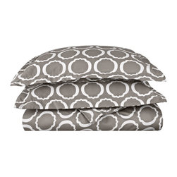 600 TC King/Cal - King Duvet Set Cotton Rich Scroll Park - Grey/White - Brighten up your home with this Duvet Cover Set from the Scroll Park Collection. Featuring a modern redesign of an ancient symbol, an emblem of positive energy, this duvet cover set will make you feel like you're surrounded by pure positivity. Set includes One Duvet Cover 106x92 and Two Pillowshams 20x36 each.