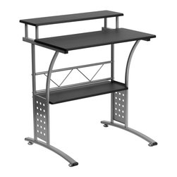Flash Furniture - Flash Furniture Clifton Black Computer Desk - NAN-CLIFTON-BK-GG - The Clifton workstation gives you an upgrade to the simple writing desk. The large work surface allows you to comfortably use your computer and use writing materials. The raised shelf gives you more space by keeping working materials from off the work surface. Use the bottom shelf for your printer or CPU. [NAN-CLIFTON-BK-GG]