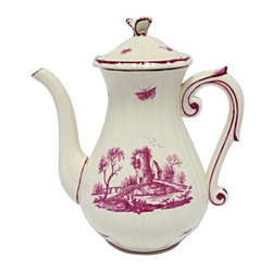 Pre-owned 19th Century French Gien Coffee Pot - This is a coffee pot from a large set of china of the Elizabeth Sutro estate in San Francisco. It is from the Gien factory in France. Later productions of this magenta pattern do not have the bugs included, but this is a 19th C. original. Note: there is slight wear to the glaze on the spout.