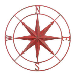 Metal Compass Wall Plaque - Bring home the industrial look with a few well-appointed pieces. This Metal Compass Wall Plaque gives any mantel or bedside table an industrial update without breaking the bank.