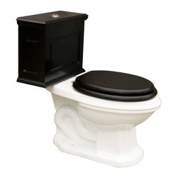 Renovators Supply - Toilets White Lowboy Flat Panel Elongated Cherry Finish - Lowboy Toilets: Old World Charm with 21st Century technology. Save WATER & MONEY with Renovator's water-saving dual flush system that offers both a 0.8 or 1.6 gallon flush. Discrete & handy the top button let��_��__��_s you control the flush flow needed. Its solid wood Flat Panel tank has a cherry finish. Ready to install with all mounting parts, includes solid wood tank & liner, supply line, angle stop, mounting hardware & Grade A vitreous elongated bowl. Toilet seat not included.