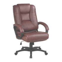 Office Star - Work Smart EX Series EX5162-G8 High Back Saddle Glove Soft Leather Chair - Deluxe high back executive saddle glove soft leather chair with padded loop arms. Thick padded contour seat and back with built-in lumbar support. One touch pneumatic seat height adjustment. Locking tilt control with adjustable tilt tension. Padded loop arms. Glove soft leather: (-g8) saddle. Heavy duty nylon base with dual wheel carpet casters.