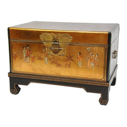 Oriental Furniture - Gold Leaf Small Trunk - This beautiful, petite keepsake trunk is a traditional wedding present and an eye-catching Asian accent in any room. comes with a separate Ming-style display stand. Finished in a bright gold lacquer and hand-painted with classic Chinoisorie accents, it comes with its own detachable four-legged display stand.  Decorative brassware includes handles on both ends and a lacquered  butterfly medallion hasp for closing the lid.