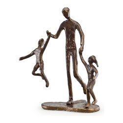 Danya B. - Father with Two Children Bronze Sculpture - Father with two children celebrates the bond between a father and his children, reminding us all that is wonderful about fatherhood!   Elegant, artistic and contemporary in feel and design.  Love abounds with this uplifting pose as the artist conveys the joy in a father's heart.