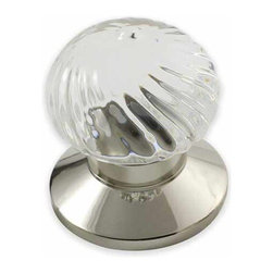 rchsupplyco - Door Knobs - Description:Swirl design clear Crystal knob shown with Plain (P) Polished Nickel Rose