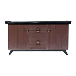 "Paul Frankl Combed Wood Credenza Brown Saltman - This mid-century modern buffet / credenza by Paul Frankl for Brown Saltman company features his trademark combed wood sides with black lacquer top.  It is branded beneath ""Brown-Saltman / Southgate 1256 Buffet."" This piece would make for one super chic media center in the family room! Seller says: ""Please see our multiple Paul Frankl and Brown Saltman listings. Many more pieces are available."" Please contact Support for further details."