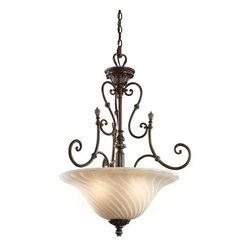 KICHLER - KICHLER 42513LZ Sarabella Traditional Inverted Pendant Light - This 3 light inverted pendant from the Sarabella(TM) Collection has attractive European styling. Its classical influences - sensual curving, intricate leaf detailing and a beautifully aged Legacy Bronze(TM) Finish - act as a bold backdrop to its soft, artistic shade. A shade that adds unusual depth and interest as a result of its subtle ribbed detailing. Width: 23.5, Height: 30, Overall Height: 104. Comes with 55 inches of extra lead wire and uses 3 100W max bulbs. For additional chain, order 2996LZ.