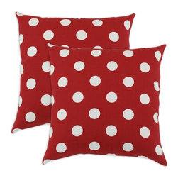 Sands - Breezy Polka Dot Red Indoor-Outdoor Accent 17 inch Throw Pillows (set of 2) - Add a modern touch to your home and outdoor with these decorative accent pillows. These throw pillows are designed to accent you home and your outside patio. This soft but durable fabric will accent any room and give you home inside or outside space a stylish look