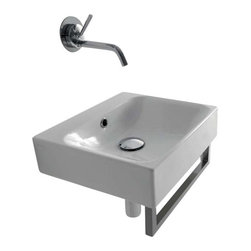 "WS Bath Collections - Cento 3539 Ceramic Sink 15.7"" x 13.8"" - Smooth and striking with strong square corners, this is the ideal basin for your modern bath. It's designed by Marc Sadler to be wall hung or set into a counter for a look that gives ""clean"" new meaning."