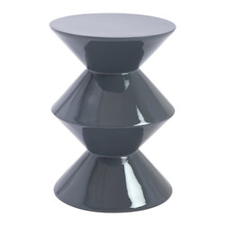 Euro Style - Euro Style Balta Side Table 25863GRY - In high gloss gray or white the Balta Side Table is distinctly modern. The angular shape is crisp and powerful and could only be fashioned in fiberglass. These look great in groups of three or more.