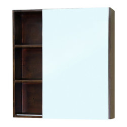 Bellaterra Home - Solid wood mirror cabinet-walnut - solid wood construction cabinet with high quality mirror, open shelves on both side for quick storage.