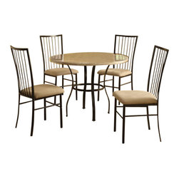 "Acme - 5 PC Darell Collection Round White Faux Marble Top and Metal Frame Table Set - 5-Piece Darell collection round white faux marble top and metal frame table set and fabric upholstered chairs. This set features round table with a white faux marble finish with metal frame, 4 - side chairs with a fabric upholstery. Table measures 36"" Dia. Chairs measure 38"" H at the back. Some assembly required."