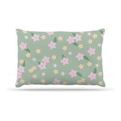 """Kess InHouse - KESS Original """"Spring Floral"""" Green Pink Fleece Dog Bed (18"""" x 28"""") - Pets deserve to be as comfortable as their humans! These dog beds not only give your pet the utmost comfort with their fleece cozy top but they match your house and decor! Kess Inhouse gives your pet some style by adding vivaciously artistic work onto their favorite place to lay, their bed! What's the best part? These are totally machine washable, just unzip the cover and throw it in the washing machine!"""