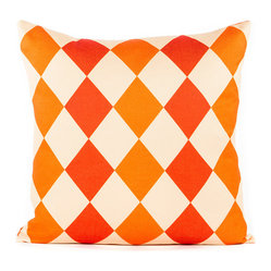 "Orange and Coral ""Diamond"" Throw Pillow"