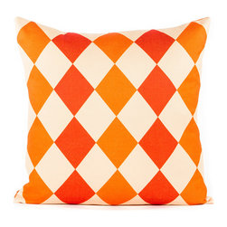 "LaCozi - Orange and Coral ""Diamond"" Throw Pillow - Bet on diamonds to bring new zing to your decor. This eye-popping pillow in awesome orange adds juicy style to your sofa, and it's quality crafted with double-stitched seams to really go the distance."