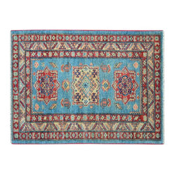 1800 Get A Rug - Sky Blue High Quality Kazak Hand Knotted 100% Wool Oriental Rug Sh15300 - Our Tribal & Geometric Collection consists of classic rugs woven with geometric patterns based on traditional tribal motifs. You will find Kazak rugs and flat-woven Kilims with centuries-old classic Turkish, Persian, Caucasian and Armenian patterns. The collection also includes the antique, finely-woven Serapi Heriz, the Mamluk Afghan, and the traditional village Persian rug.
