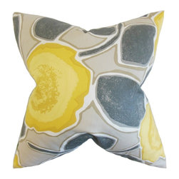 The Pillow Collection - Carlin Floral Pillow, Yellow Gray - Bursting a blooming floral print, this enchanting pillow is a great addition to your interiors.