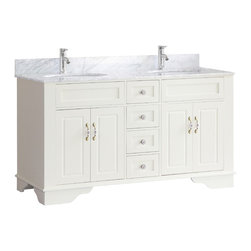 """Bosconi - 59"""" Bosconi A-5095F Classic Double Vanity - The light and elegant cream white finish of this classic 59"""" Bosconi double vanity set, projects a soft and delicate ambiance into your bathroom interior. Complete with two full size cabinets and four soft-closing drawers, you will have plenty of room to store all of your essential bathroom accessories. The duel oval ceramic sinks along with White Carrara marble countertop and coordinating backsplash, lend to beautifully chic overall aesthetic."""