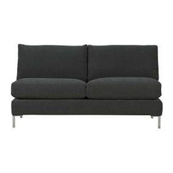 """Pre-owned CB2 Annex Loveseat - Simple, stylish, and comfy...what else could you ask for? This Annex Loveseat from CB2 in slate color has a neutral modern appearance that will fit in with most decor, whether you're a minimalist or a Mid-Century Modern lover!. The seller barely used it so it�۪s in great condition and is no longer available through CB2.    17"""" seat height."""