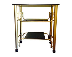 Pre-owned Mid-Century Smoked Glass and Matte Brass Bar Cart - A gorgeous vintage, Mid-Century bar cart with brushed matte brass with two smoked glass shelves.