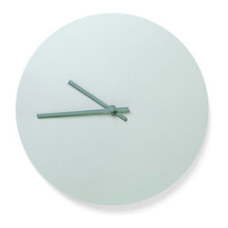 Menu - Steel Wall Clock, Green - Norm Steel Wall Clock is a light and simplistic clock with steel hands - designed by the Copenhagen-based simplicity lovers at Norm Architects. The clocks are available in 4 different soft Scandinavian colors, some of them with matching colored hands, others with clean steel hands.