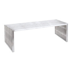 Fine Mod Imports - Zeta Stainless Steel Bench Long - Polished Stainless Steel Bench features a contemporary style, which is illustrated by its stylish, identical pieces of polished stainless steel. The beautiful part of polished stainless steel bench is that there are no screws or visible connectors. This piece can function as modern coffee table, bench and extra seating. Contemporary and classic design makes a strong design statement. Polished stainless steel construction Multifunctional and perfect for both residential and commercial projects. Fully Assembled.