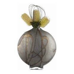 Arteriors - Overton Vase - When heavy metals and delicate glass collide, beautiful things can happen. This glass vase is made to look like aged zinc with unique drizzled gold accents. It's mouth-blown into a flat disc shape with a small opening to hold flowers or to be used alone as a one-of-a-kind decorative object.
