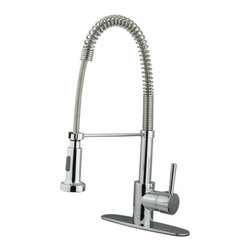Kingston Brass - Concord Single Handle Pull-Down Spray Kitchen Faucet, Chrome - The Concord pull-down faucet features a gooseneck-shaped spout which hangs over the sink built for easy washing. The long coil covering part of the sprayer is connected to the neckpiece for support. The chrome-plated finish adds long-lasting protection as well as a sleek flashy-looking decor for your kitchen.