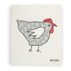 Swedish Dishcloth, Chicken & Hen Designs, Tapethona Grey - Authentic Swedish Dishcloth in beautiful modern design. Add some Scandinavian charm to your kitchen sink with these delightful contemporary designs in functional, reusable towels for your home.  Made of all natural materials and water-based inks.