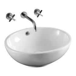 Caracalla - Oval White Ceramic Vessel Bathroom Sink, No Hole - Oval vessel bathroom sink with white glaze finish. Comes standard with overflow and has no options for faucet holes. Made in Italy by Caracalla.