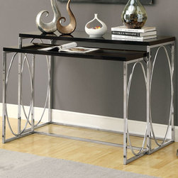 "Monarch - Glossy Black / Chrome Metal 2Pcs Console Table Set - With its chic glossy black tops, this 2 piece console table set gives an exceptional look to any room. Its original oval shaped chromed metal base provides sturdy support as well as a contemporary look. Use this multi- functional set as lamp tables, decorative display tables, or simply as accent pieces, in your living room, hallway or even bedroom.; Color: Black; Country of Origin: Taiwan; Weight: 36 lbs; Dimenions: 46""L x 18""W x 32""H"