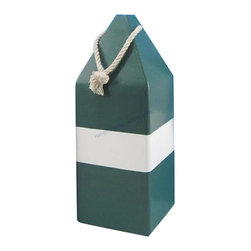 """Handcrafted Nautical Decor - Wooden Green Dark Colored Buoy with Rope 14"""" Waggler Floats Decorative Buoy - Ne - Classically themed and delightfully decorative, this Wooden Green Dark Colored Buoy with Rope 14"""" wood float is the perfect coastal decorating accent to your home or collection. Handcrafted Nautical Decor is proud to present this delightful wood buoy, just the one you have been looking for, to place in your home. Perfect indoors or out, this wonderful float brings the atmosphere of the sea into your home and life. Enjoy your wooden float wherever you may place it."""