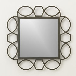 Fretwork Warm Zinc Mirror - Early fretwork designs were cut into wood or metal embellishing furniture, instruments and architecture. Our modern version takes its cue from the classic Greek key motif, adding graceful curves and a warm zinc finish to set off a square of mirrored glass.