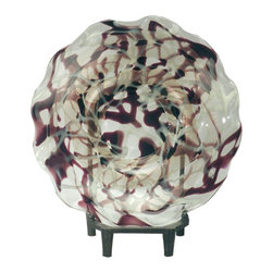 Dale Tiffany - Dale Tiffany Robury Transitional Charger with Stand X-19607GP - From the Robury Collection, this Dale Tiffany charger comes with a stand, making it an easy addition to buffets, shelves and more. This transitional charger plate features a simple circular shape with ruffled edges and a beautiful blend of hues including shimmering white, rich wine and soft coppery-bronze.