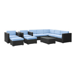 LexMod - Avia Outdoor Wicker Patio 10 Piece Sectional Sofa Set in Espresso with Light Blu - Surround yourself with a modern landing pad of exploration. Positioned to advance your outdoor patio, backyard, or pool area, Avia helps you bestow acceleration to your outward achievements and social celebrations.