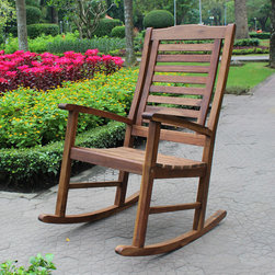 International Caravan - International Caravan Trinindad Acacia Porch Rocker with Oil Finish - Add a touch of classic comfort and antique style to your patio furnishings with this Acacia Hardwood Rocker,featuring an elegant,slatted high-back design and a stylish natural oil finish.
