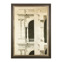 """J. Pocker - """"Architectural Engraving"""" Print - If you're a lover of architecture with all its angles, facades, columns and unique creations, this custom-curated print will reinforce your passion. Hand selected by renowned Interior Designer, Bunny Williams, this reproduction captures a small corner of the marvel that is traditional architecture."""
