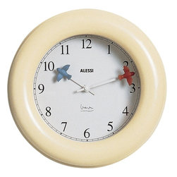Alessi - Alessi Kitchen Clock - What time is it? Let the little birdies on the hands of this clock tell you. This Richard Graves design is a delightful size for your kitchen and is available in light blue or ivory.