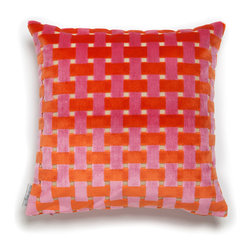 Mac Meckley - Pink & Orange Weave, Accent Pillow Case - Accent Pillow Case (same fabric on both sides)