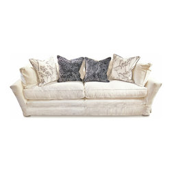 Kathy Kuo Home - Dania Modern Coastal Beach White Striped Skirted Sofa - Pillows not included. Limited Quantities.