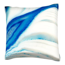 Custom Photo Factory - Cross-section of Pattern of Ice in Layers Pillow.  Polyester Velour Throw Pillow - Cross-section of Pattern of Ice in Layers Pillow. 18 Inches x 18  Inches.  Made in Los Angeles, CA, Set includes: One (1) pillow. Pattern: Full color dye sublimation art print. Cover closure: Concealed zipper. Cover materials: 100-percent polyester velour. Fill materials: Non-allergenic 100-percent polyester. Pillow shape: Square. Dimensions: 18.45 inches wide x 18.45 inches long. Care instructions: Machine washable