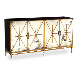 Four Door Rio Dresser - A stunning amalgam of the traditional and the modern, the Four Door Rio Dresser brings a shimmery beauty to your transitional decor. Door panels of foxed mirror impart old-world glamour; black lacquered ends suggest sleek modernity. Adding to the timeless allure of the piece:  a steel base frame finished in old gold that offers a glimmer of the past that befits the present.