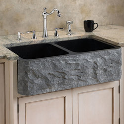 Polished Granite Double-Bowl Farmhouse Sink - Chiseled Front - With its striking, chiseled front and polished interior, the Granite Farmhouse Sink lends a beautiful contrast to your kitchen. Durable and unique, this solid stone sink has a generous depth and double-bowl design that conveniently lets you handle two tasks at once.