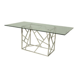 """Pastel Furniture - Pastel Firouzeh Rectangular Glass Top Dining Table in Stainless Steel - The Firoozeh dining table with 70"""" x 39"""" rectangular glass top with a unique and intricate stainless steel base design. This beautifully made table will add style and beauty to your dining area."""