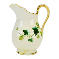 Lavish Shoestring - Consigned Green Ivy Gilded Milk Jug, Antique English, circa 1880 - This is a vintage one-of-a-kind item.