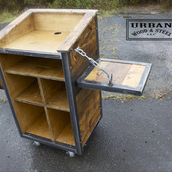 The Charlie Day - This urban industrial hostess stand or POS station consists of our menu rack, drop shelf, and extra interior divider; turnbuckle shelf support, locking steel casters, & electrical chase within the cabinet. This unit is perfect for your restaurant or store needs, steel banding protects the antique pine exterior.