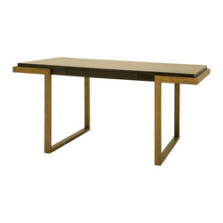 Metropolitan Writing Table - A modern, masculine and luxury approach to furniture design. Our Metropolitan collection is made by crafty artisans from Honduras. Metropolitan collection is designed of poplar wood and antiqued recycled brass.