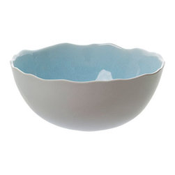 Jars - Plume Serving Bowl - Jars Ceramics are handcrafted in South of France with environmentally friendly products. They are chip resistant, as durable as porcelain (fired at 2340 F), Non-porous and will not stain. Microwave and dishwasher safe.